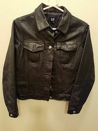 brown leather button down jacket Catoosa, 74015