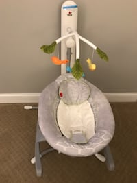 baby's white and gray cradle and swing RESTON