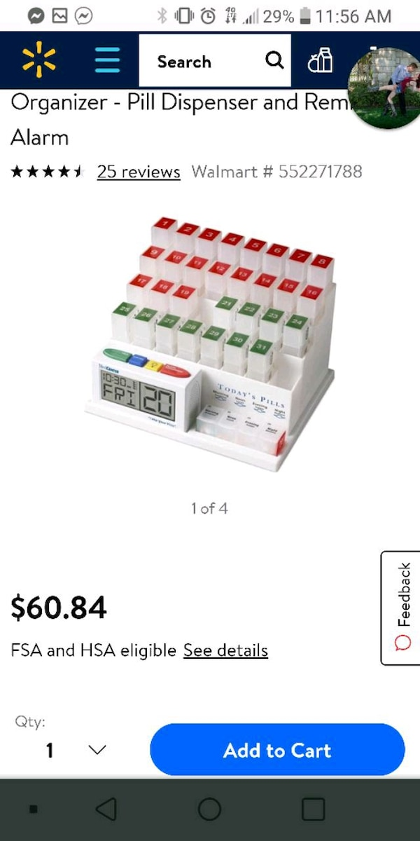 Medcenter System Monthly Pill Organizer