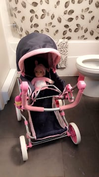 Baby stroller and doll