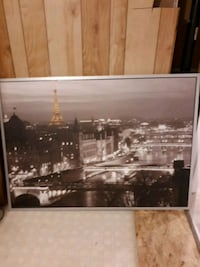 black wooden framed painting of Eiffel tower Hamilton