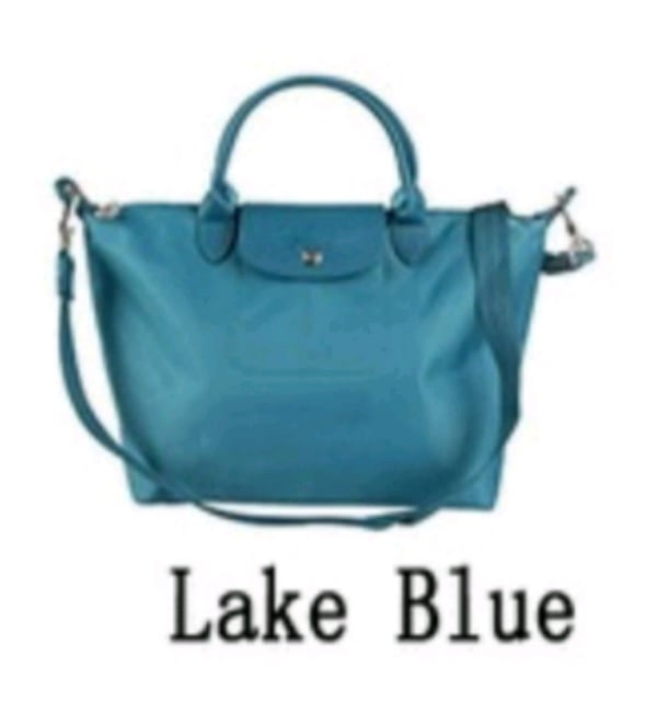 Lake blue color foldable tote bag  5a78b481-210d-46f1-9bae-c9310494aefa