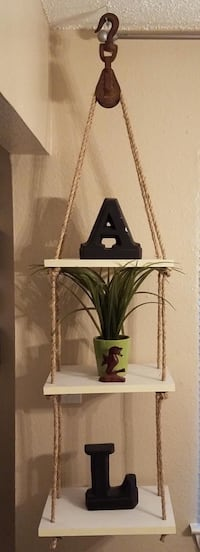 Handcrafted Hanging Shelves with Pulley