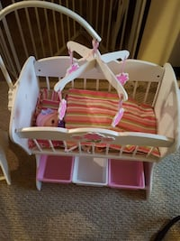 Baby doll crib and high chair