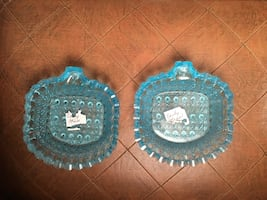 L.G. Wright Glass electric blue pair of small dishes