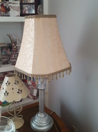 grey metal table lamp base with beige cone lampshade Gaithersburg, 20879