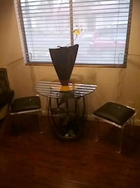 wine fountain new and 2 lucite chairs vintage