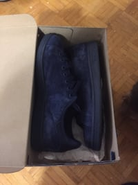 Pair of blue suede low-top sneakers with box