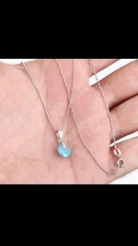 Blue Topaz Round Stone Sterling Silver Necklace Jewelry Vancouver, V5X 1A7