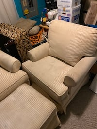 2 identical chairs and ottoman.