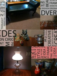 black table lamp and black leather daybed collage