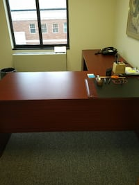 black and brown wooden desk FAIRFAX