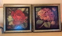 2 Paintings red rose and hydrangea