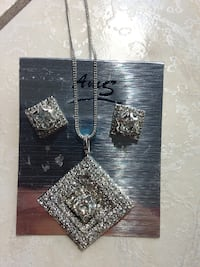 Silver Pendant Necklace With Earrings Set Brampton