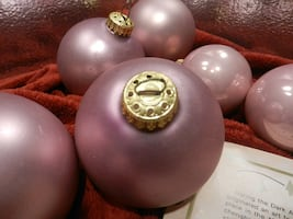 Vintage home decor holiday Christmas tree ornaments. Muted frosted Mauve glass balls. West Germany.