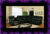C shape sectional black bonded leather Upper Marlboro, 20772