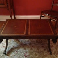 Coffee table, solid mahogany, vintage, leather top Baltimore, 21210