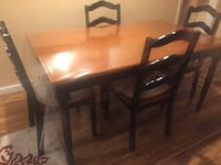 Rectangular brown wooden table with four chairs dining set Wayne, 07470
