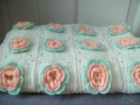 3D Flower Crocheted Baby Blanket or Lap Cover