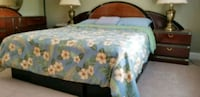 white and blue floral print bed sheet Germantown