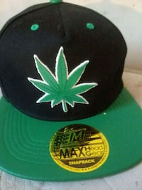 black and green cannabis print fitted cap Overland, 63114