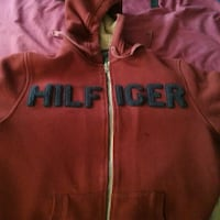 red and black Tommy Hilfiger zip-up hoodie