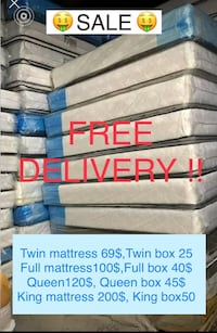 MATTRESS SALE ! Free delivery  Owings Mills, 21117