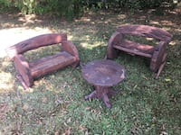 Solid wooden small benches and table.  Excellent and sturdy condition