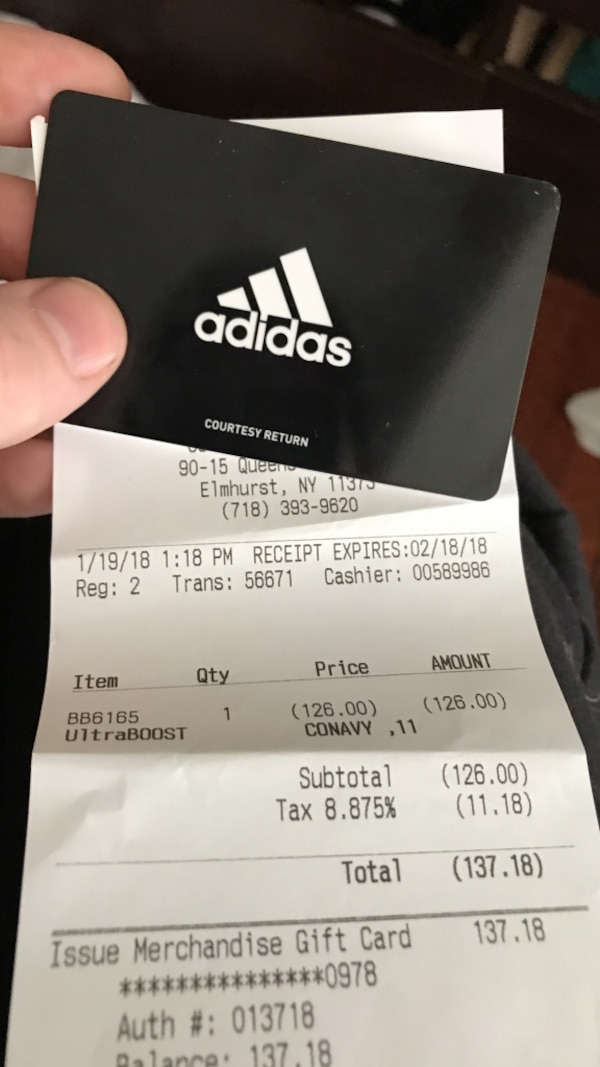 size 40 a841e 8c4eb Käytetty Adidas gift card for use online or in store there is  137.18 on  the card selling at a dis punted price for  100 act fast!!! myytävänä  kaupungissa ...