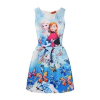 blue and red floral sleeveless dress