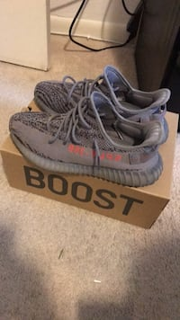 pair of gray Adidas Yeezy Boost 350 V2 with box Woodbridge, 22193