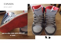 5.5 white-and-red  Adidas basketball shoes collage