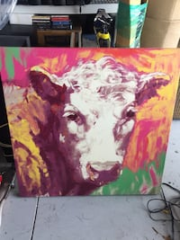 Vivid Cow Painting on Canvas  Wesley Chapel, 33543