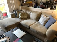 brown suede sectional sofa with throw pillows Los Angeles, 90293
