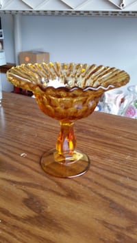 Vtg amber compote dish SOUTHBEND