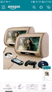 "Beige 2x9"" HD Touch Screen Car Headrest DVD Player"