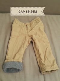 EUC GAP 18-24M Full Fleece Lining Khaki Pants Milton