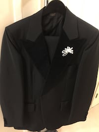 Black Tuxedo with Bow Tie , Jacket Size 40 pant 38 length 30 - worn once - check all pictures