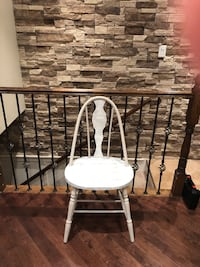 Lovely antique side Chair.  Updated in a White wash linen.  Great fir extra chair in bedroom or any room in house!! 731 km