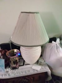 white ceramic base with white lampshade table lamp Baldwinsville, 13027