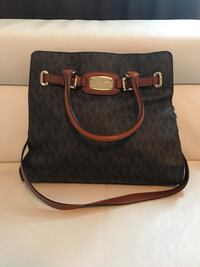 Black and brown michael kors monogram leather tote bag