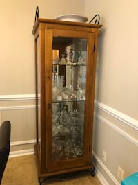 Solid wood glass display case cabinet