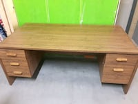 brown wooden single pedestal desk Ottawa, K2M 0E2