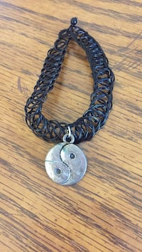 black lace necklace with yin yang pendant