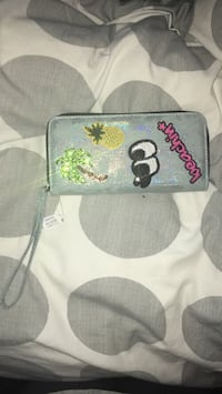 Gray, pink, and green wristlet