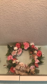 Pink flowers, green leaves/ succulents. Burlap bow. Wreath Gilbert, 85233