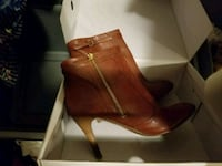 pair of brown leather heeled booties Sacramento, 95814