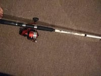 white and red fishing rod