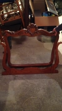 Brown wooden framed antique dresser mirror. Merrimac, 01860