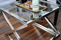 New criss cross stainless steel chrome side table Niagara Falls